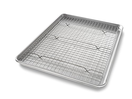 USA Pan 1606CR Half Sheet Baking Pan and Bakeable Nonstick Cooling Rack, Metal