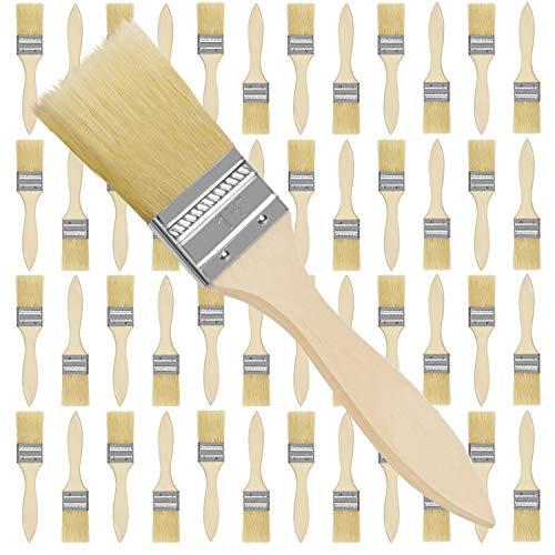 Kurtzy Set Brochas Pintor 3,81 cm (Pack de 48) Brocha Plana Pintura Profesional Mango de Madera para Pintura, Tintes, Barnices, Pegamentos y Bricolaje en el Hogar – Pack de Brochas para Pintar