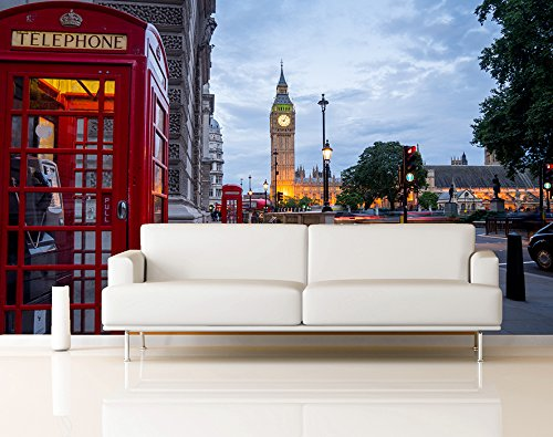 Oedim Fotomural Vinilo Pared Big Ben Abadia De Westminster Londres | Fotomurales Pared | Fotomural Decorativo | Vinilo Decorativo | 350 x 250 cm | Decoración comedores Salones |