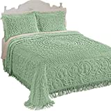 Collections Etc Calista Chenille Lightweight Bedspread with Fringe Border, Sage, Queen