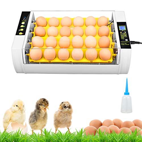 SEAAN Brutmaschine Vollautomatisch Hühner Eier Brutgerät mit 24 LED- 24 Eier- Feuchtigkeitsanzeige- Temperaturregelung- Automatisches Drehen - Hatcher Maschine für Hühnergans Ente Taube Wachtel Voge
