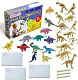 """Kidtastic Dig Dinosaur Toys Fossils Digging Set (9 PCS) Mini Set of 3"""" Assorted Dino Figures & Build Skeletons – Science Learning Excavation Kit, Archaeology Toy for Kids Age 3 and Up"""
