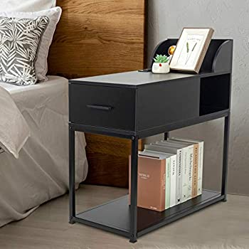 YOURLITE End Table with Power Outlet 2-Tier Narrow Nightstand Metal Frame Modern Sofa Side Table with 2 USB Charging Port for Small Space Living Room Bedroom Furniture  Black