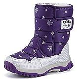 DADAWEN Girls Boys Snow Boots Winter Outdoor Waterproof Slip Resistant Cold Weather Shoes (Toddler/Little Kid/Big Kid) Purple US Size 1 M Little Kid