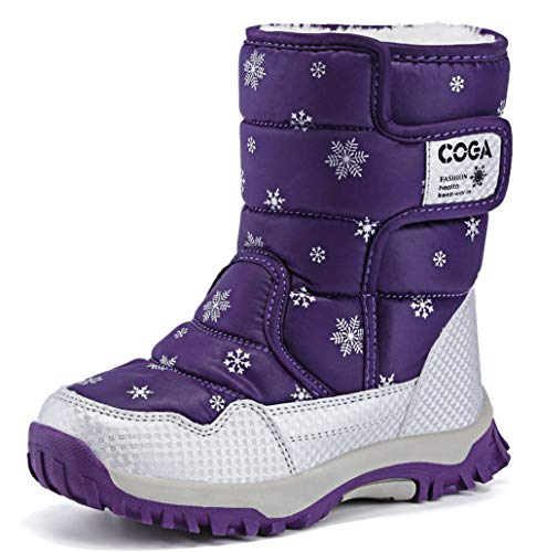 DADAWEN Girls Boys Snow Boots Winter Outdoor Waterproof Slip Resistant Cold Weather Shoes (Toddler/Little Kid/Big Kid) Purple US Size 9 M Toddler