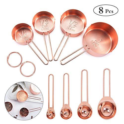 Edelstahl Messbecher und Löffel mit Messlineal Bestcool Scoop , Küchenumrechnungstabelle 8er Set für Trockene und Flüssige Zutaten