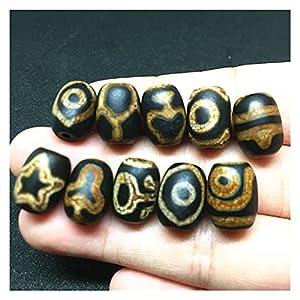 JSJJPLM Natur Achat Perlen 10pcs / Lot Dzi-Perlen 1 0MM * 14MM. Natürlicher Achatstein DYI. Perlen dunkelbraune Farbe für Armband hohe Qualität