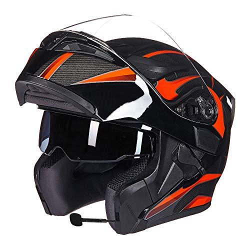 SJAPEX Casco de Motocicleta Casco Modular de Motocicleta Integrado con Bluetooth Casco Protección para Motocicleta con,Visera Casco Integral Aprobado por ECE C,L=58~59cm