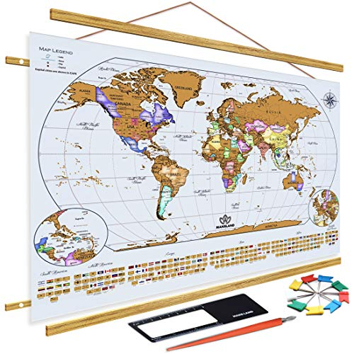 """Mansland Scratch The World Travel Map - 24""""x 17"""" Scratch Off World Map Poster - Includes Teak Wood Frame, Complete Accessories Set & All Country Flags - Premium Wall Art Gifts for Travelers"""