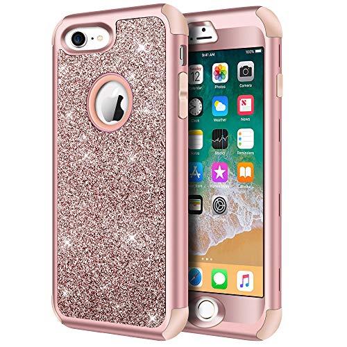 Hython Designed for iPhone 8, iPhone 7 Case, Heavy Duty Full-Body Defender Protective Case Bling Glitter Sparkle Hard Shell Hybrid Shockproof Rubber...