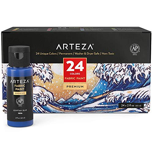 Arteza Permanent Fabric Paint, Set of 24 Colors, 60 ml Bottles, Washer & Dryer Safe, Textile Paint for Clothes, T-Shirts, Jeans, Bags, Shoes, Art and Craft Supplies for DIY Projects