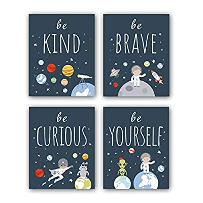 """Unframed Inspirational Art Print, Outer Space Planet Wall Art Painting,Set of 4?8"""" x10"""" ? Be Kind Be Brave Be Curious Be Yourself Quote Canvas Posters for Boys Bedroom Nursery Decor"""