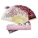 Boshiho 扇子 & 扇子袋 扇 和風 和装 高級シルク 正絹 綺麗 花 花柄 レディース おしゃれ 上品 華やか 防暑