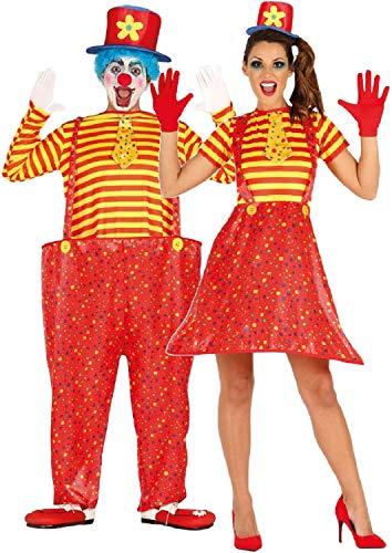 Fancy Me Paare Damen und Herren Crazy Comedy Bright Clown Circus Karneval Halloween Kostüm Outfits