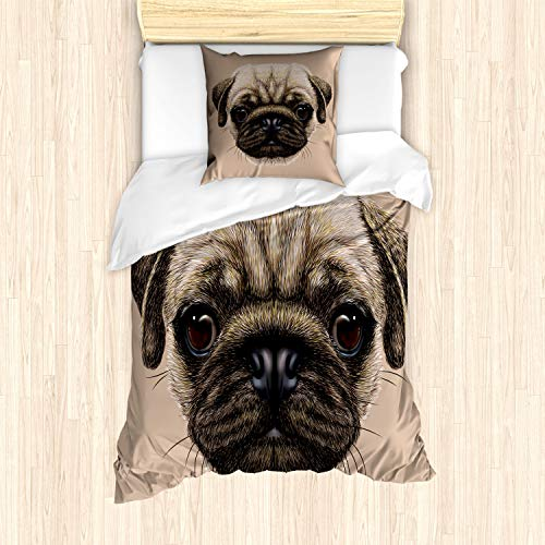 ABAKUHAUS mopshond Dekbedovertrekset, Pet Animal Art Design Hond, Decoratieve 2-delige Bedset met 1 siersloop, 135 cm x 200 cm, Tan Pale Brown
