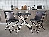 KLEE Bistro Set 3 teilig, Gartenmöbel Set, Sitzgruppe 2 Stühle und 1 Tisch, Balkon Set Klappbar, Stahlgestell, Hochwertiger...