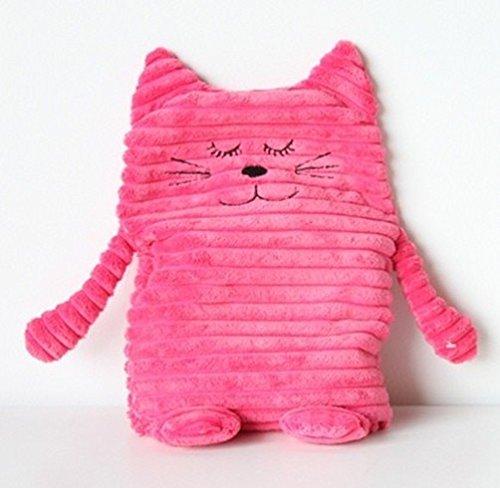 Inware 8717 - Peluche Chat, rose vif , 17 x 26 cm, pour le chauffage au micro-ondes, remplissage amovible