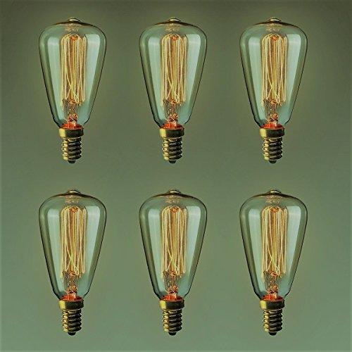 Juego de 6 bombillas vintage retro estilo Edison E14 de 40 W 220 V – jaula de ardilla de tungsteno filamento de vidrio antiguo lámpara de 6 pulgadas