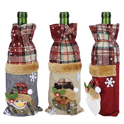 Omabeta Bolsa de Botella de champán Bolsa de Botella de Vino de Vacaciones de decoración navideña para Vacaciones de Navidad