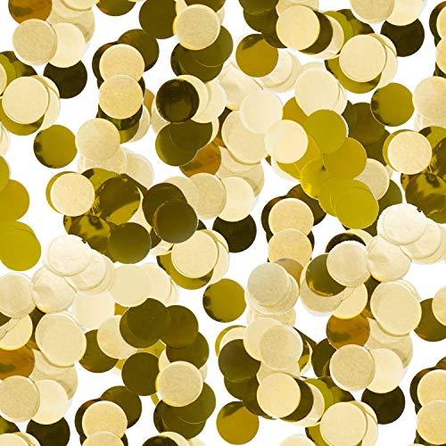 300 Teile Konfetti * Gold * als Deko für Goldene Hochzeit, Geburtstag und Party | rund; Ø2,5cm; aus Papier und Folie | Partydeko Tischdeko Confetti Set