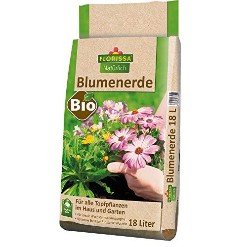Florissa Natürlich 58580 Bio Blumenerde (18 l) | torffrei | für Beet, Balkon-und Zimmerpflanzen, Braun