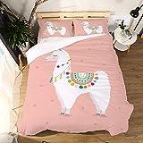 Svvsovs 3D lecho de Imprimir Duvet Cover Set 135 x 200 cm bedcloth con la Funda de Almohada Juego de Cama Textiles for el hogar Individual Doble Rey Queen Size Patrón Animal Simple Rosa - Traje de e