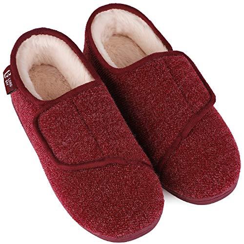 Zapatillas de Espuma viscoelástica para Mujer LongBay, cómodas y acogedoras para la Artritis y la Edema, Rojo (Rojo Vino), 38 EU