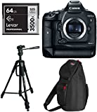 Canon EOS-1D X Mark II Digital SLR Camera Body, Lexar 64GB Professional 3500x CFast Memor Card, Ritz Gear 70' Deluxe Premium Tripod with Monopod Kit, Ritz Gear Back Bundle