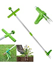 Standing Plant Root Remover,Stand Up Weeder with Steel Claws, 100cm Long Aluminum Alloy Pole,Weed Puller Hand Tool for Garden Lawn