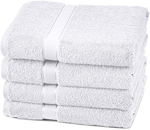 Pinzon Egyptian Cotton Bath Towel Set (4 Pack) – White