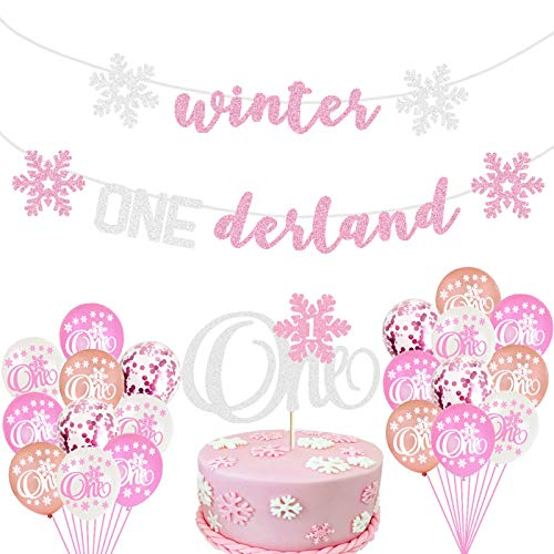 Winter 1st Birthday Party Supplies Pink Glittery Winter Onederland Banners and Balloons Snowflake One Cake Topper Little Snowflake Themed Girls First Birthday Baby Shower Party Supplies Decorations