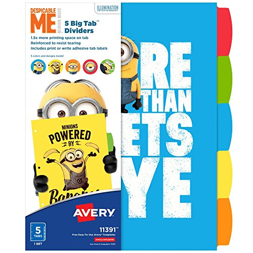 Avery Despicable Me Big Tab Dividers, Minions Expressions, 5-Tab Dividers, 1 Set (11391)