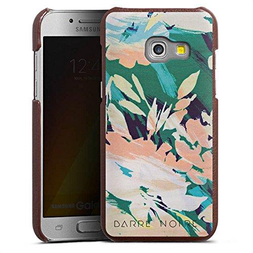 DeinDesign Cover kompatibel mit Samsung Galaxy A5 (2017) Lederhülle braun Leder Hülle Leder Handyhülle Flower Blume Muster