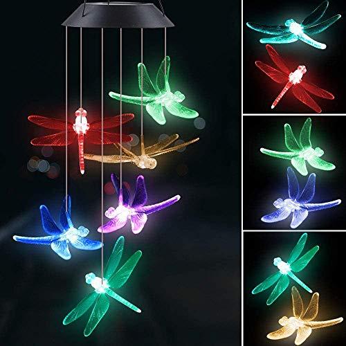 Solarleuchten Windspiele mit Farbwechsel, Give Me Libelle LED Solarlicht Garten Hängen Lampe, Geschenk für Mama or Mädchen, Hängeleuchte Innen oder Draussen Deko für Garten,Terrasse, Hof