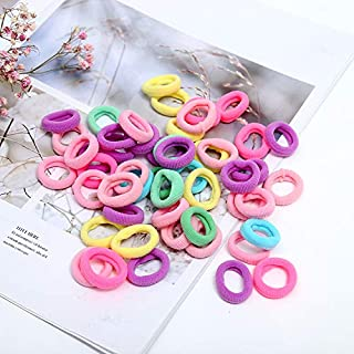 100 Pieces Cotton Hair Ties Mini Seamless Soft Elastic Hair Bands Ponytail Holder Hair Accessories for Toddlers Baby Girls Kids Multicolored 0.8inch in Diameter