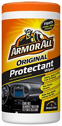 Armor All Original Protectant Wipes, Car Interior Cleaner with UV Protection to Fight Cracking & Fading, Medium Shine, 50 Count, 10834