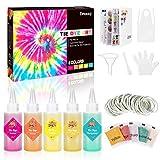 Emooqi Tie Dye Kit, 5 Colores Vibrantes Kit Tintes Textiles con Botellas Exprimibles, Gomas & Guantes etc, DIY Kit Permanentes Pinturas Ropa Tinte para Niños & Adultos