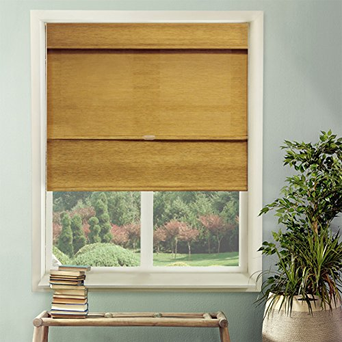 Chicology Cordless Magnetic Roman Shades Privacy Fabric Window Blind, 33'W X 64'H, Jamaican Antique Gold (Privacy & Natural Woven)