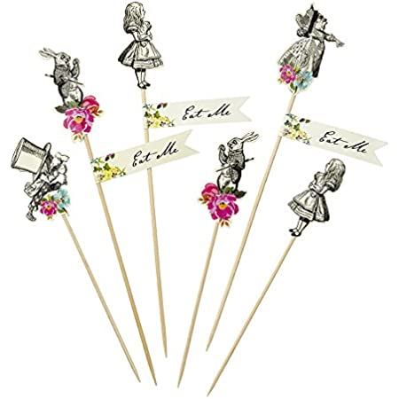 12 Eat Me Cupcake Toppers Mad Hatters Tea party wedding//birthday decorations