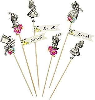 Talking Tables Alice In Wonderland Party Supplies | Canape Picks or Cake Decorations | Great For Mad Hatter Tea Party, Birthday Party And Baby Shower | 12 Pack
