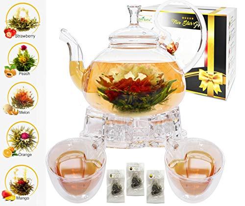 Five Star - Juego de tetera de cristal con infusor de filtro, calentador de vidrio, 2 juegos de taza de oído, doble pared y 5 bolas de té verde floreciente