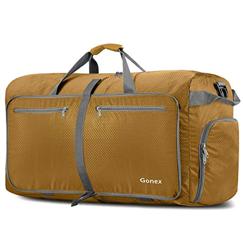 Gonex 100L Foldable Travel Duffle Bag, Extra Large Luggage Duffel with shoes compartment Gold