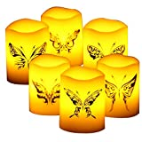 Real Wax Battery Operated LED Flameless Flickering Pillar Candle with Timer and Butterfly Decal for Halloween Christmas Wedding Party Home Kitchen Décor Supplies 6 Pack Battery Included