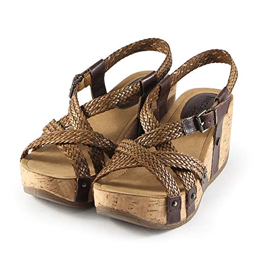 Bussola Sandals for Women Cross Straps Wedge Sandals Fida Platform Buckle Shoes Soft Leather and Stable for Walking(Woven Brown) EU38/US 7