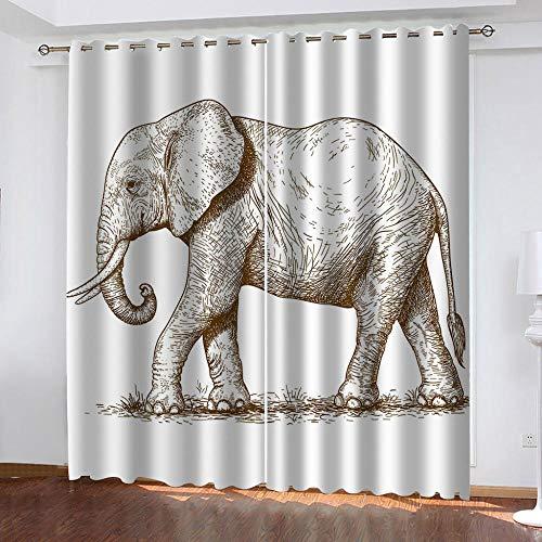 YTSDBB Cortinas Aislantes Termicas Dibujo de pintura de elefante Ancho 160 x Altura 115 cm Salón Dormitorio Opacas Proteccion Intimidad Aislantes Térmicas Cortinas Ventanas para 100% Poliester 2 Pie