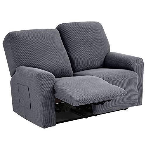 TIANSHU Funda reclinable para sofá de Dos plazas, 6 Piezas para 2 Asientos, Funda reclinable de Jacquard para sofá de 2 Cojines, Funda elástica para sofá(Sillón Relax 2 Plaza, Gris Claro)