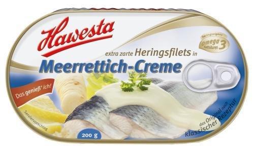 Hawesta Heringsfilet in Meerrettich-Creme, 10er Pack (10 x 200 g Dose)