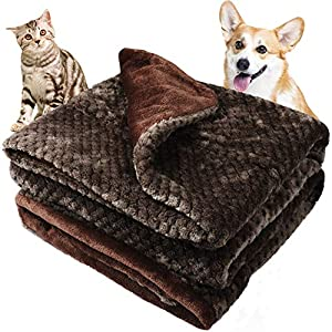Onarway Bilayer Fluffy Sherpa Dog Blankets Thicken 31.5 x 39.4 inch Soft Washable Pet Throw Blanket Sleep Bed Mat for Dogs Puppy Cats & Other Small Medium Pets Dark Brown