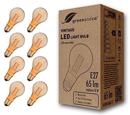 8x Bombilla LED greenandco® decorativa estilo vintage antiguo Edison E27 A60 2W 65lm 1800K (blanco extra cálido) 320° 230V vidrio, sin parpadeo, no regulable