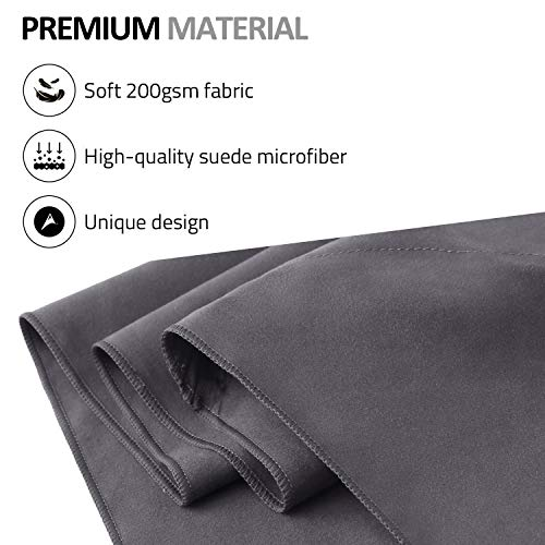 Eono by Amazon - Microfiber Towel Perfect Sports, Travel, Beach Towel. Fast Drying, Super Absorbent, Ultra Compact. Suitable for Camping, Gym, Beach, Swimming, Backpacking, Dark Grey, 180x90cm